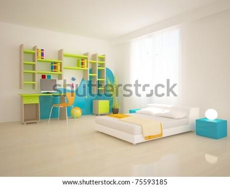 colored children room - stock photo