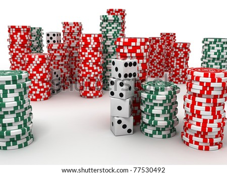 colored chips and cubes for gambling on the isolated background. The scene was generated by using three-dimensional graphics