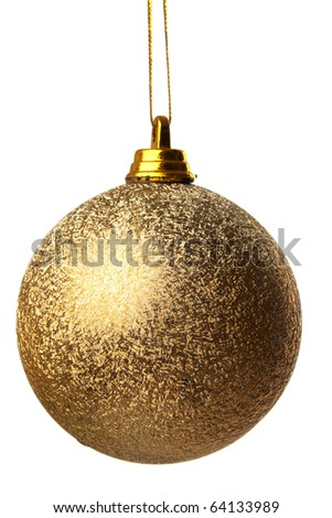 colored Christmas ball hanging on white background it's isolated - stock photo