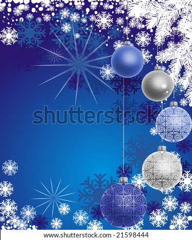 Colored Christmas balls hanging on blue