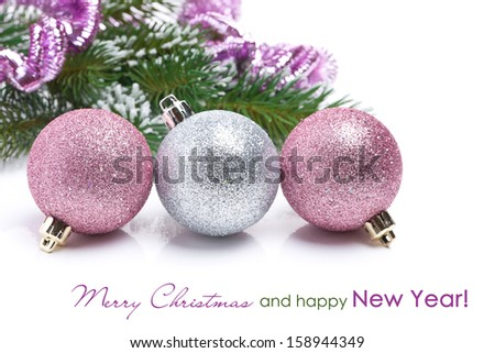 colored Christmas balls isolated on a white background