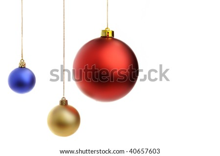 Colored Christmas balls isolated on white with copy space