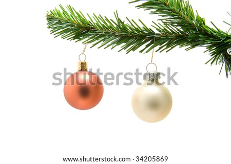 Colored Christmas balls on a tree on white background