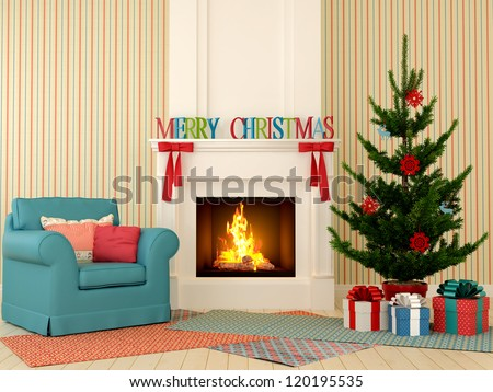 Colored Christmas interior  with fireplace in the center of the composition, comfortable chairs and a Christmas tree with presents. - stock photo