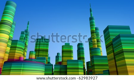 Colored city - stock photo