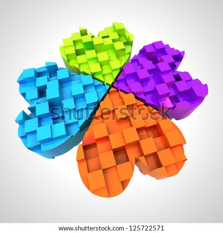 colored cloverleaf in three dimensional composition illustration