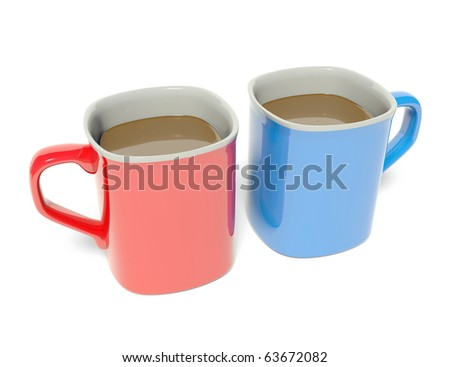 Colored coffee cup - stock photo