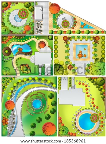 Colored Collections od  Landscape Plan with treetop symbols - stock photo
