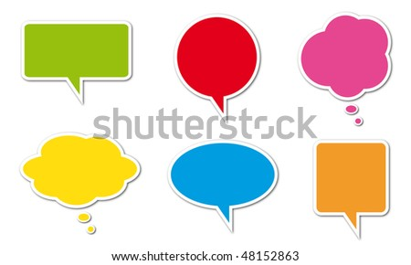 Colored comic balloons isolated on a white background - stock photo