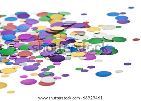 Colored confetti on the white background - stock photo