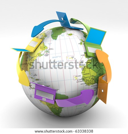 Colored Connecting Laptop All Around The World - stock photo