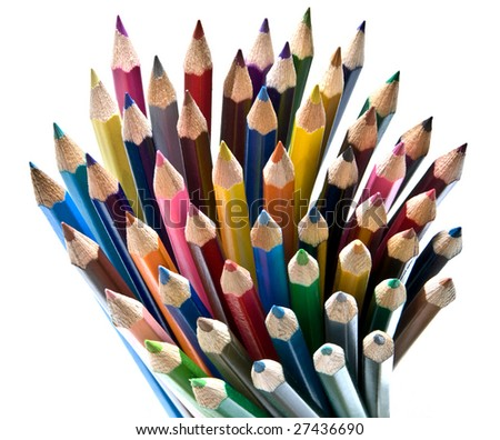 Colored crayons and pencils isolated on white