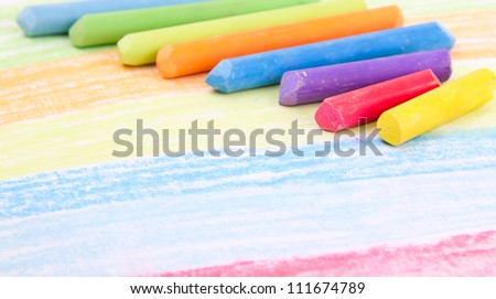 Colored crayons on paper