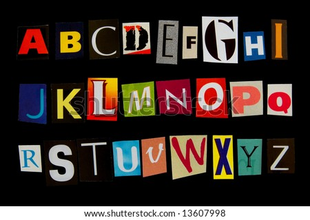 colored criminal font isolated on black