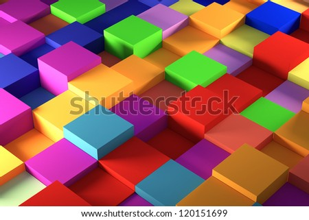 colored cube plastic view of a light background - stock photo