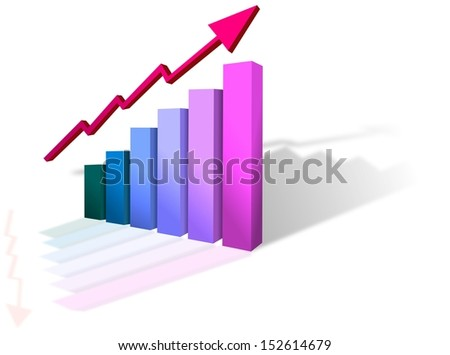 Colored cubic progress graph with growing arrow - stock photo