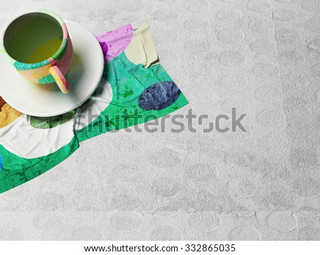 colored cup on the napkin, 3d rendering