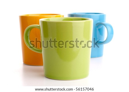 Colored cups. Isolated on white background. - stock photo