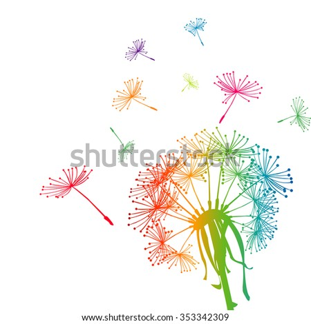 Colored dandelion with colored seeds - stock photo