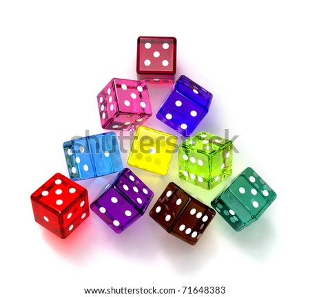 colored dices for game in the casino at this night
