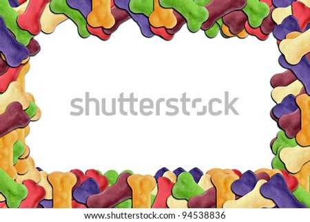 Colored dog biscuit frame a great image for your job.