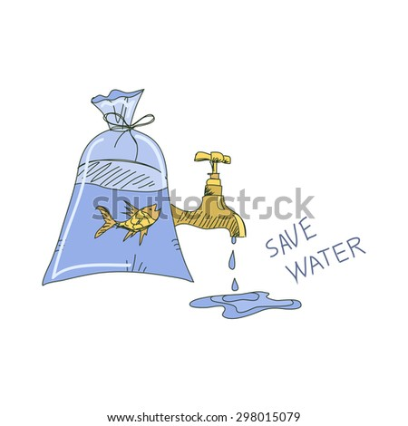 Colored doodle save water concept. Ecology  illustration. - stock photo