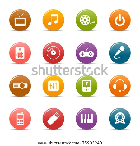 Colored dots - Media icons - stock photo