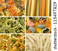 Colored dry  Italian pasta assortment collage top view surface   - stock photo