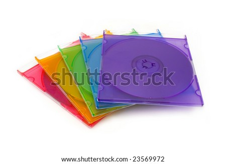 Colored DVD boxes isolated - stock photo