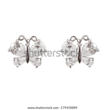 colored earrings on white - stock photo
