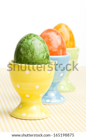 colored easter eggs decorated in a studio
