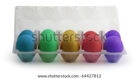 Colored Easter eggs in a plastic box on isolated  background - stock photo