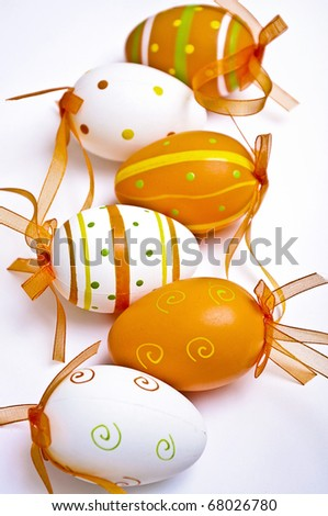 Colored Easter eggs in various colors and with different designs