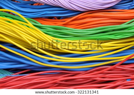 Colored electrical cables - stock photo