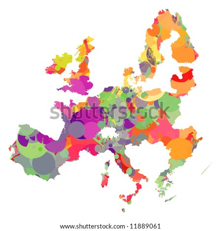 Colored european union map