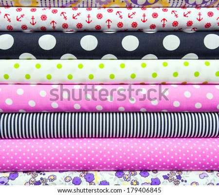 colored fabrics and textiles - stock photo