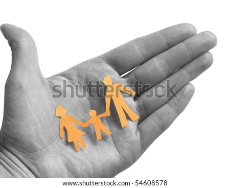 colored family in the BW hand - stock photo