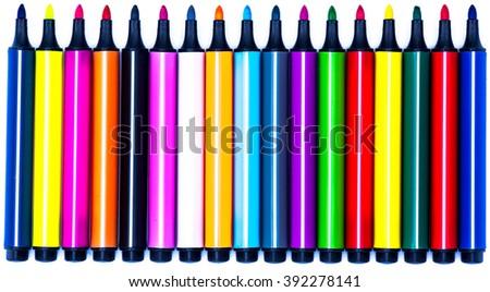 colored felt-tip pens - stock photo