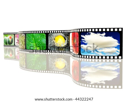 colored film-roll  on white background
