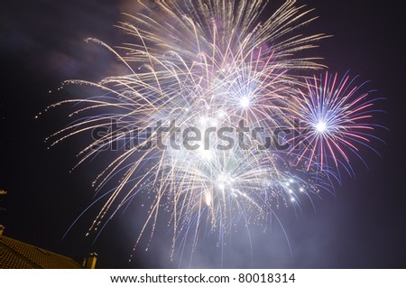 Colored firework on a black sky introduce the summer - stock photo