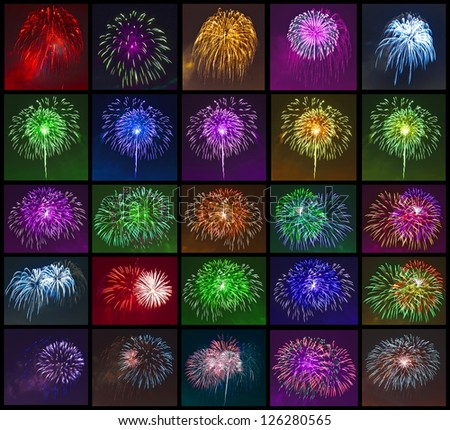 colored fireworks, salute , collection, on black background - stock photo