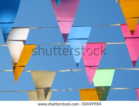 Colored flags detail - stock photo