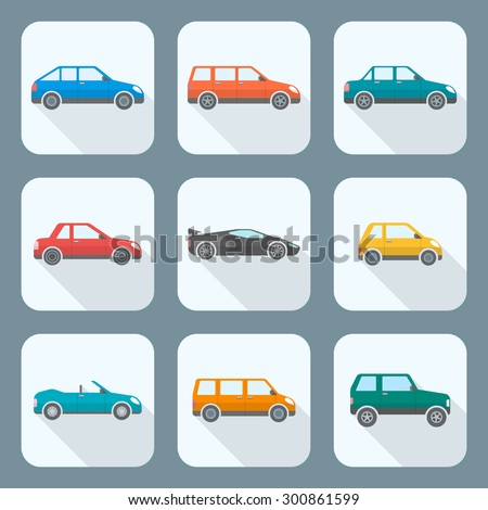 colored flat design body types cars classification icons set sedan saloon hatchback station wagon coupe cabriolet microcar compact supercar sportcar off-road crossover minivan camper minibus  - stock photo