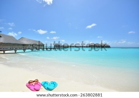 Colored flip flops and sunglasses at the tropical beach -- Tropical beach vacation and travel concept - stock photo