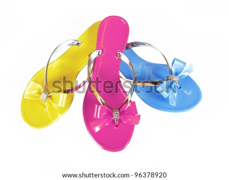 Colored flip-flops isolated on white