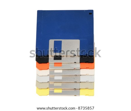 Colored Floppy Disks - stock photo