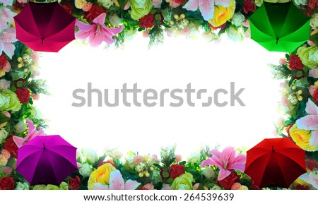 colored flower and umbrella  border with white background - stock photo