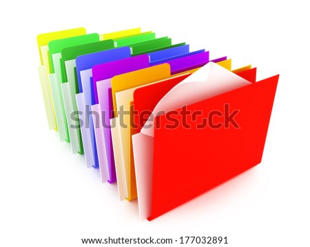 Colored folders on a white background