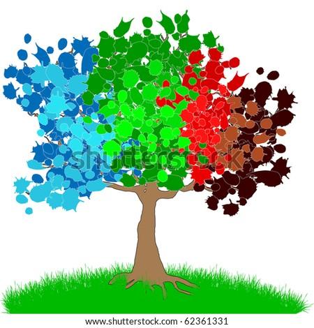 Colored four seasons tree - stock photo