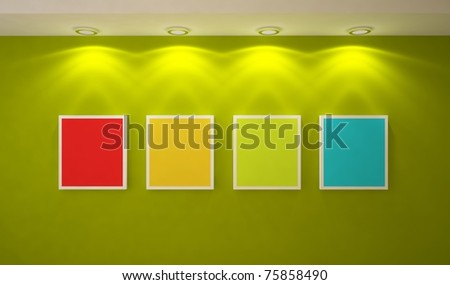 colored frames on a wall - stock photo